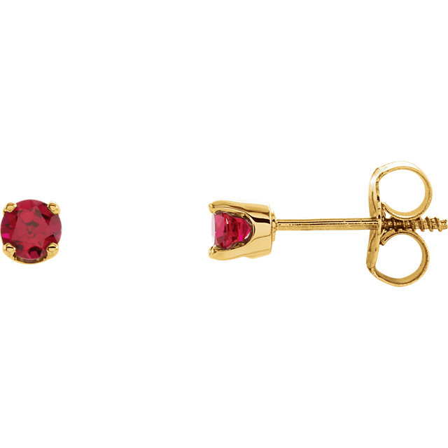 Great Deal in 14 Karat Yellow Gold Genuine Chatham Created Lab-Created Ruby Earrings