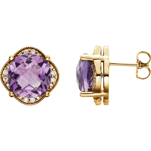 Beautiful 14 Karat Yellow Gold Checkerboard Amethyst & 0.20 Carat Total Weight Diamond Earrings