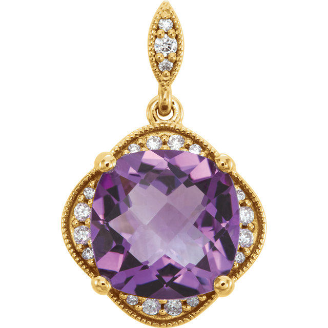 Quality 14 KT Yellow Gold Checkerboard Amethyst & Diamond Pendant