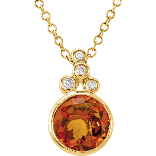 Great Gift in 14 Karat Yellow Gold Checkerboard Citrine & .04 Carat Total Weight Diamond 18