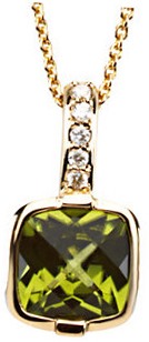 14KT Yellow Gold Checkerboard Peridot & .05 Carat Total Weight Diamond Necklace