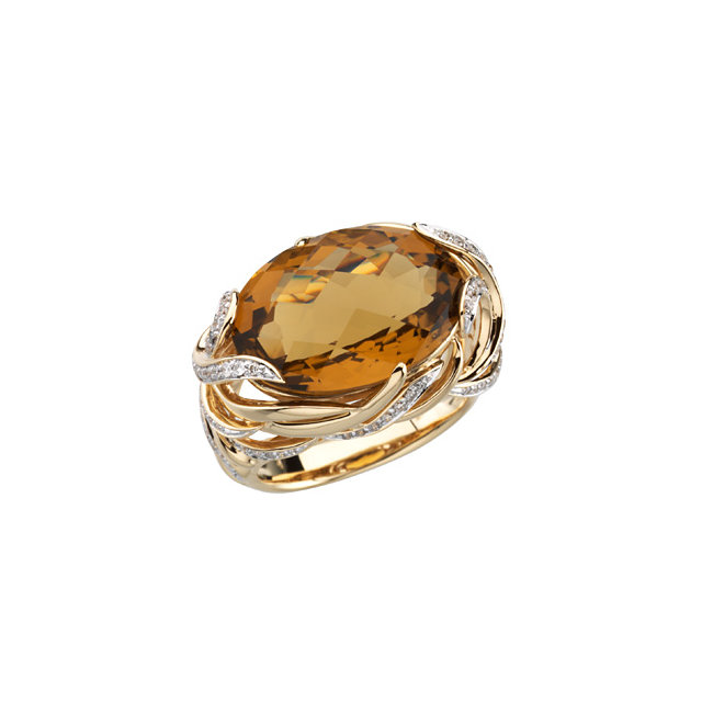 Perfect Gift Idea in 14 Karat Yellow Gold Cinnamon Quartz & 0.50 Carat Total Weight Diamond Ring