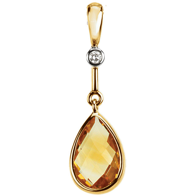 14KT Yellow Gold Citrine & .015 Carat Total Weight Diamond Pendant
