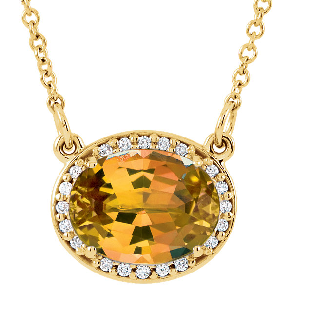 Contemporary 14 Karat Yellow Gold Citrine & .05 Carat Total Weight Diamond 16.5