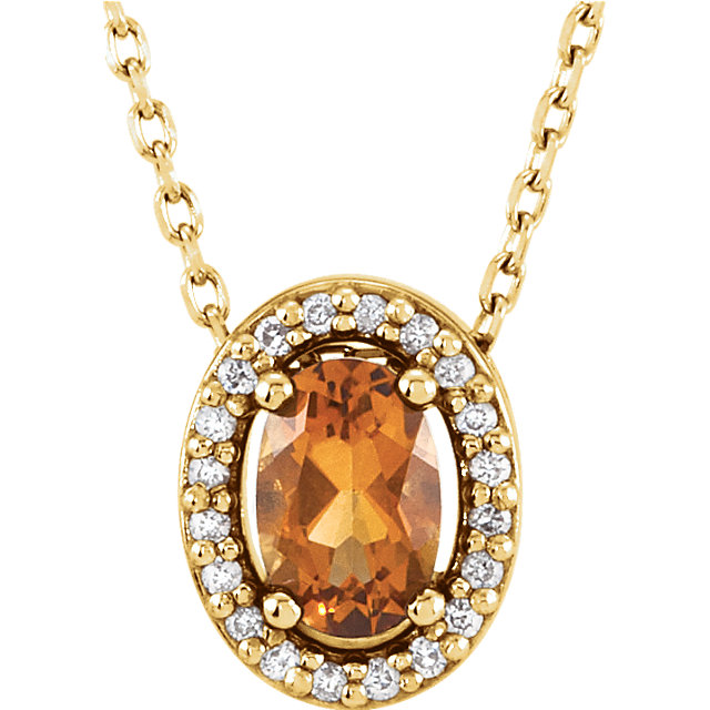 Great Deal in 14 Karat Yellow Gold Citrine & .05 Carat Total Weight Diamond 16