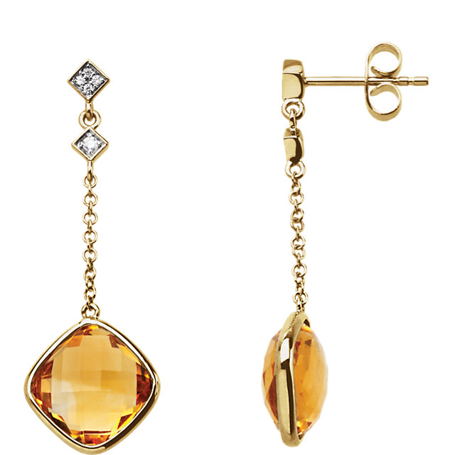 Wonderful 14 Karat Yellow Gold Citrine & .05 Carat Total Weight Diamond Earrings