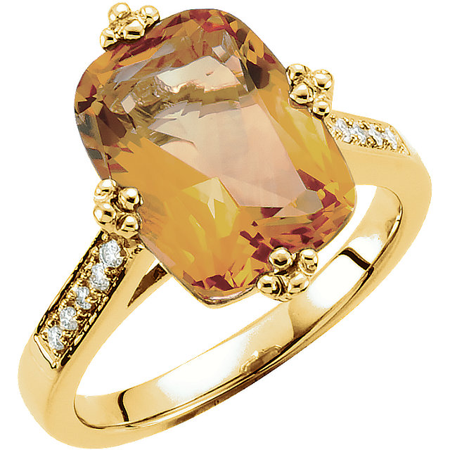 Great Buy in 14 Karat Yellow Gold Citrine & .08 Carat Total Weight Diamond Ring