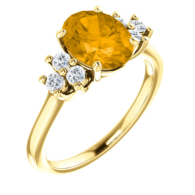 Very Nice 14 Karat Yellow Gold Citrine & 0.25 Carat Total Weight Diamond Ring
