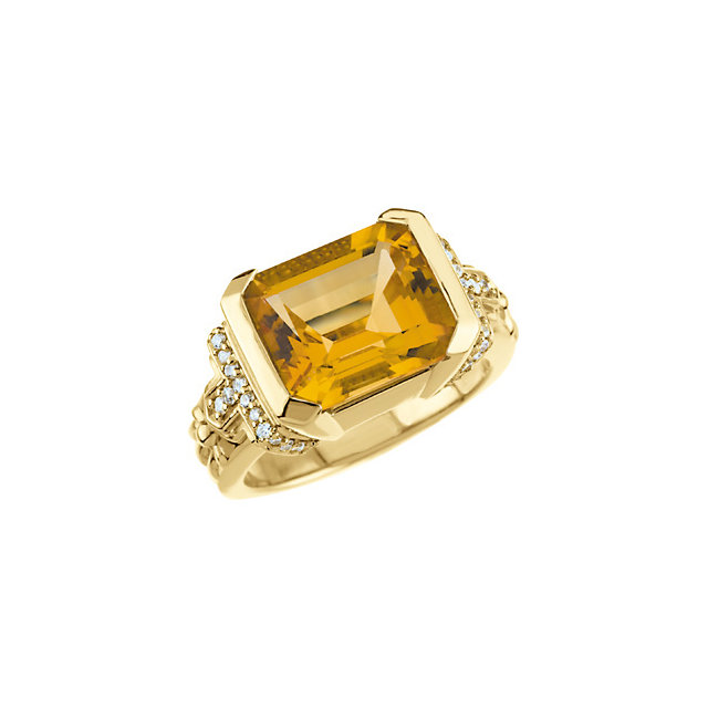 Surprise Her with  14 Karat Yellow Gold Citrine & 0.20 Carat Total Weight Diamond Ring
