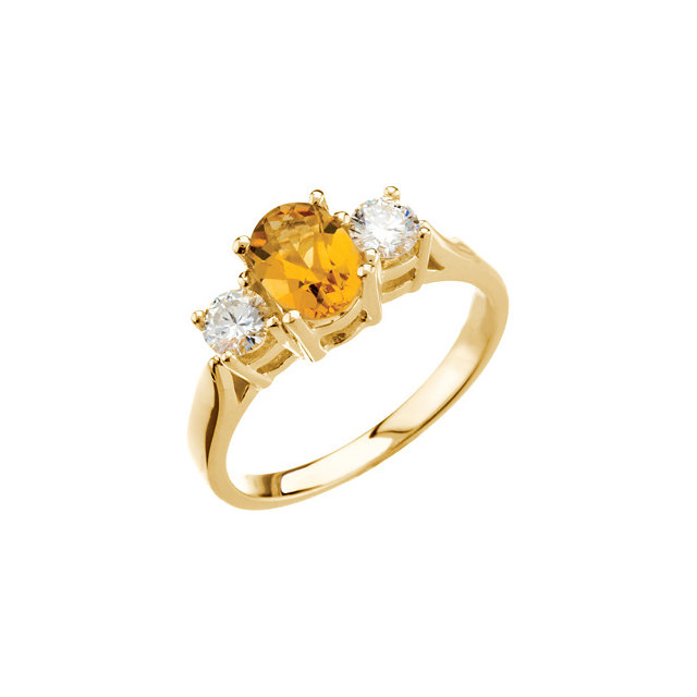 Exquisite 14 Karat Yellow Gold Oval Genuine Citrine & 3/8 Carat Total Weight Diamond Ring