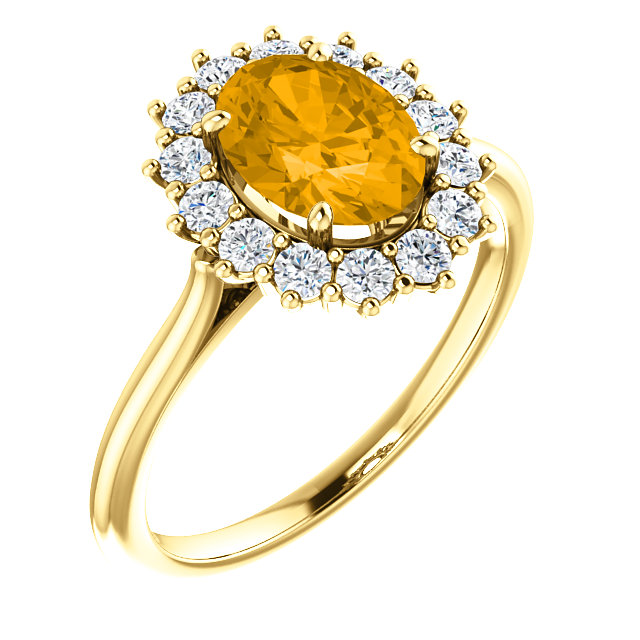 Attractive 14 Karat Yellow Gold Oval Genuine Citrine & 3/8 Carat Total Weight Diamond Ring
