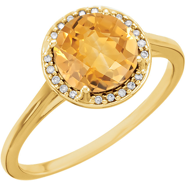 Must See 14 Karat Yellow Gold Citrine and .05Carat Total Weight Diamond Ring