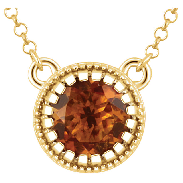 Golden Citrine Necklace in 14 Karat Yellow Gold Citrine