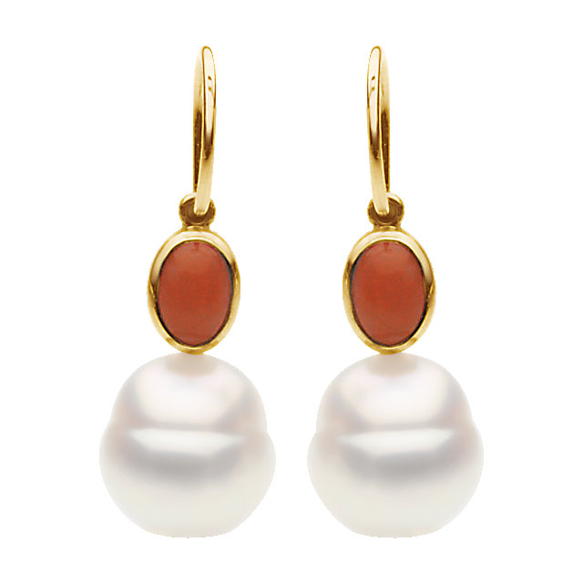14KT Yellow Gold Coral & South Sea Cultured Pearl Earrings