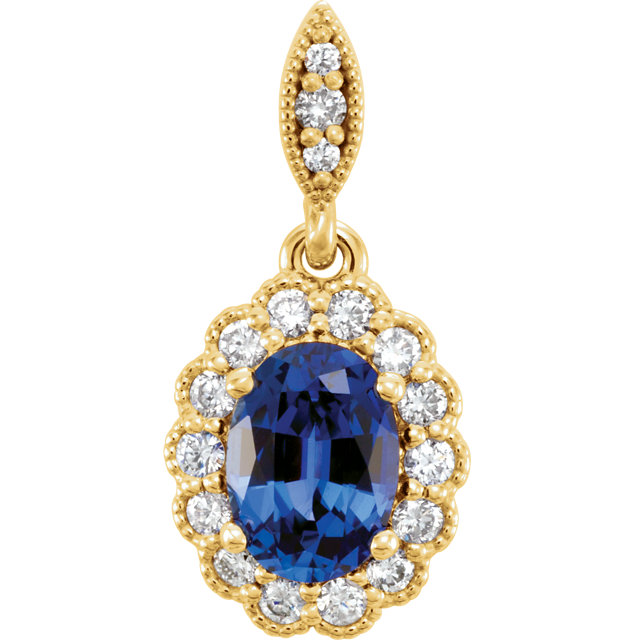 Eye Catchy 14 Karat Yellow Gold Genuine Chatham Created Created Blue Sapphire & 0.20 Carat Total Weight Diamond Pendant