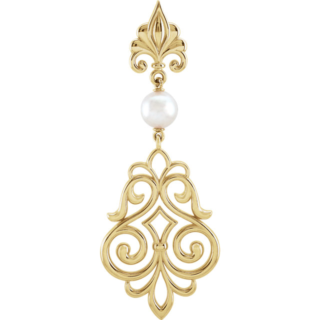 Quality 14 KT Yellow Gold Akoya Cultured Pearl Pendant