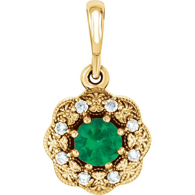 Graceful 14 Karat Yellow Gold Round Genuine Emerald & .06 Carat Total Weight Diamond Pendant