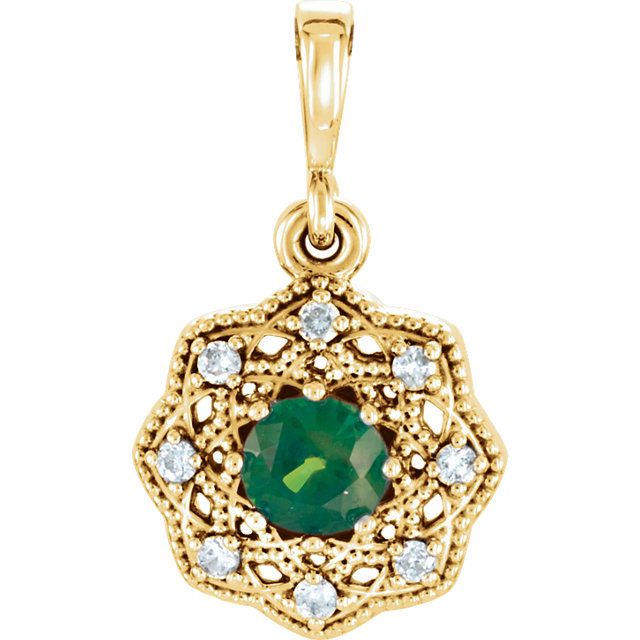 Appealing Jewelry in 14 Karat Yellow Gold Emerald & .06 Carat Total Weight Diamond Halo-Style Pendant