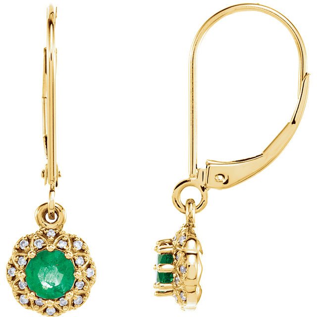 Very Nice 14 Karat Yellow Gold Emerald & .08 Carat Total Weight Diamond Earrings