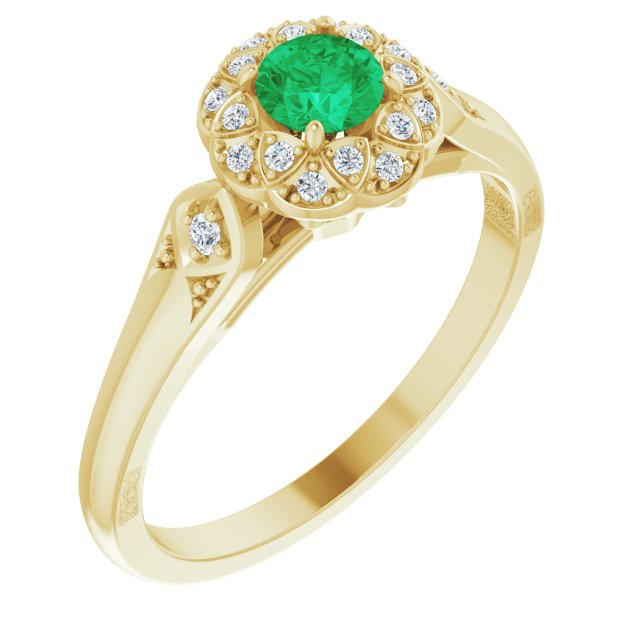 Genuine Emerald Ring in 14 Karat Yellow Gold Emerald & 0.10 Carat Diamond Ring