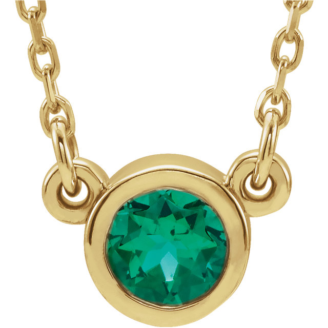Captivating 14 Karat Yellow Gold Round Genuine Emerald 16