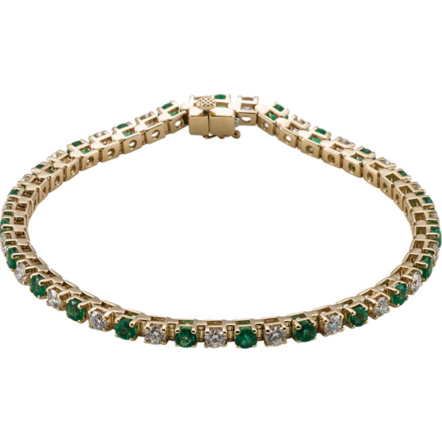 Must See 14 Karat Yellow Gold Emerald & 2 0.33 Carat Total Weight Diamond Bracelet