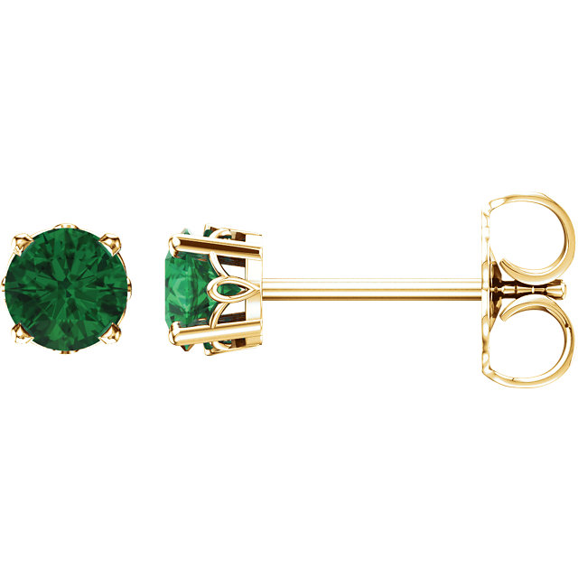 Must Have 14 KT Yellow Gold Emerald 4-Prong Scroll Setting Stud Earrings