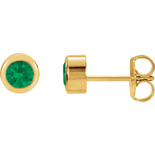 Genuine 14 Karat Yellow Gold Emerald Earrings