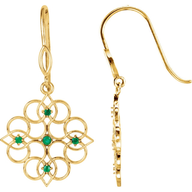Great Deal in 14 Karat Yellow Gold Emerald Earrings