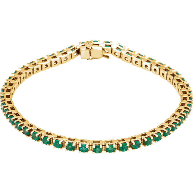Easy Gift in 14 Karat Yellow Gold Emerald Line Bracelet