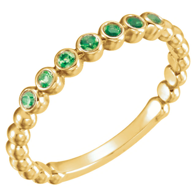 Surprise Her with  14 Karat Yellow Gold Emerald Stackable Ring