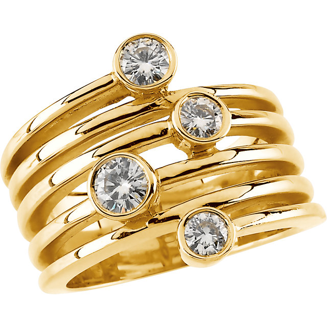 14KT Yellow Gold Forever Classic Moissanite Right-Hand Ring