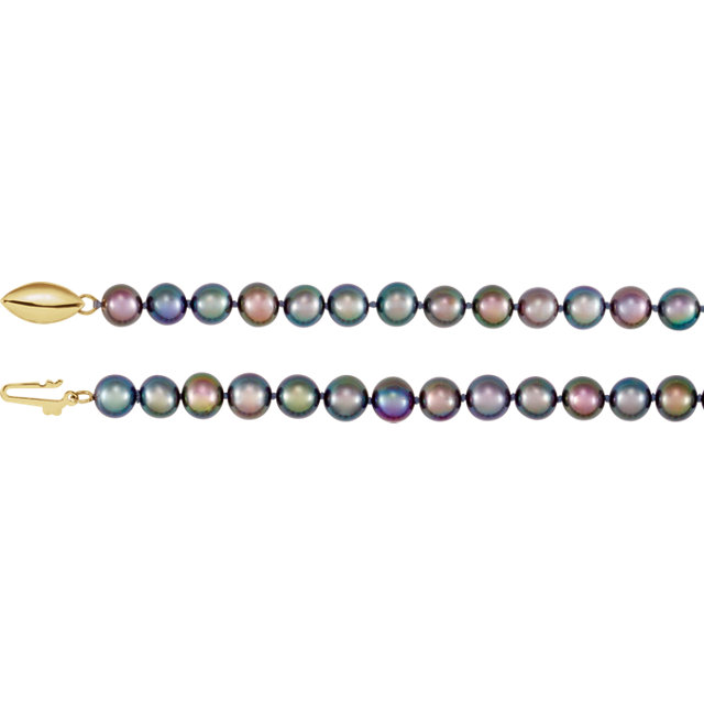 Cultured Akoya Pearl Necklace in 14 Karat Yellow Gold Freshwater Cultured Black Pearl 20