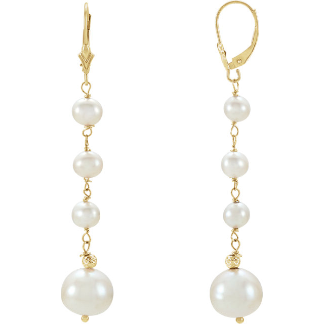Genuine 14 KT Yellow Gold Freshwater Cultured Earrings
