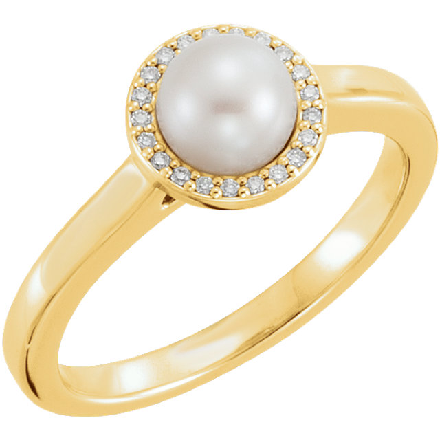 Contemporary 14 Karat Yellow Gold Freshwater Cultured Pearl & .05 Carat Total Weight Diamond Halo-Style Ring