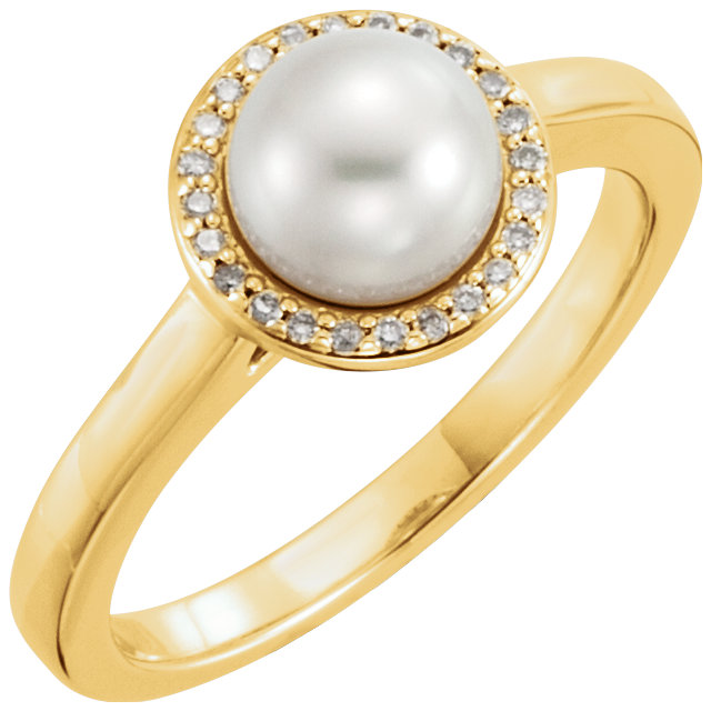 Great Buy in 14 Karat Yellow Gold Freshwater Cultured Pearl & .06 Carat Total Weight Diamond Halo-Style Ring