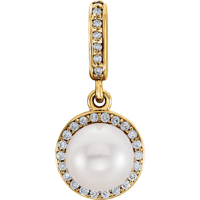 Quality 14 KT Yellow Gold Freshwater Cultured Pearl & 0.10 Carat TW Diamond Pendant