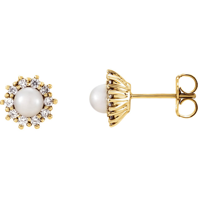 Shop 14 KT Yellow Gold Freshwater Cultured Pearl & 0.33 Carat TW Diamond Earrings