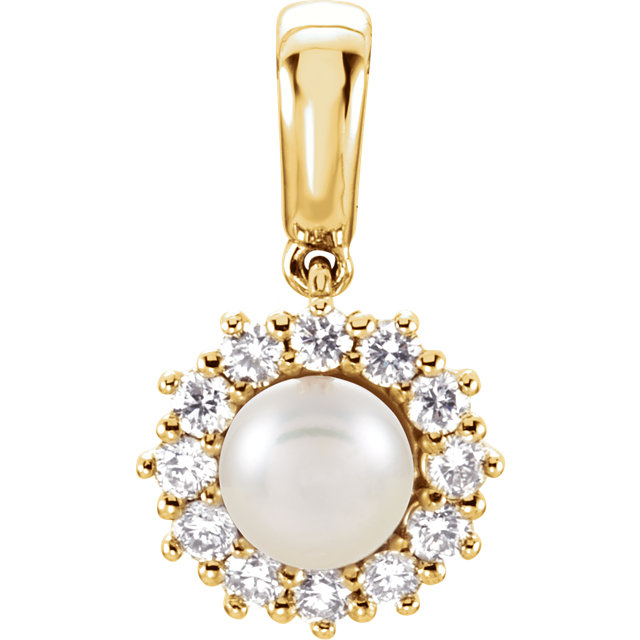 Must See 14 Karat Yellow Gold Freshwater Cultured Pearl & 0.33 Carat Total Weight Diamond Pendant