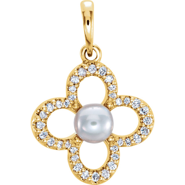 14 KT Yellow Gold Freshwater Cultured Pearl & 0.17 Carat TW Diamond Pendant