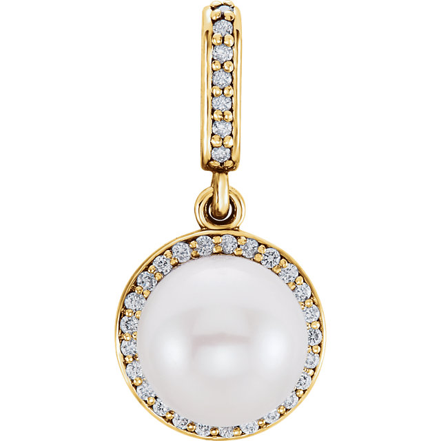 Low Price on 14 KT Yellow Gold Freshwater Cultured Pearl & 0.12 Carat TW Diamond Pendant
