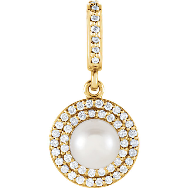Chic 14 Karat Yellow Gold Freshwater Cultured Pearl & 0.12 Carat Total Weight Diamond Pendant