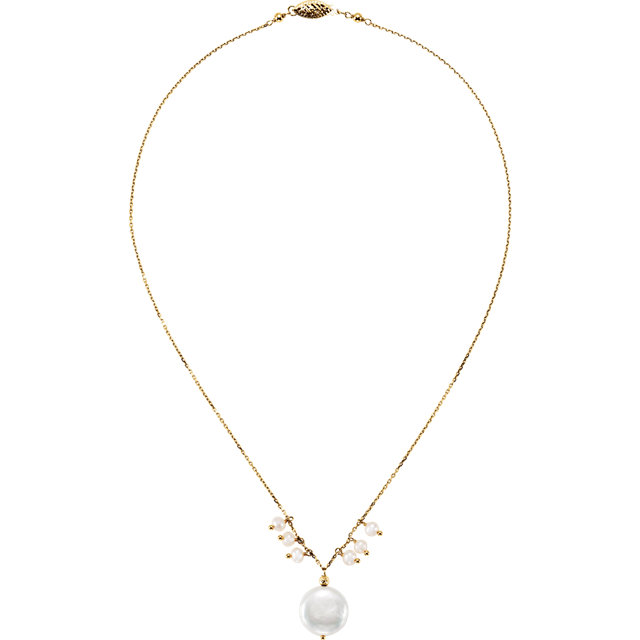 14 KT Yellow Gold Freshwater Cultured Pearl 16