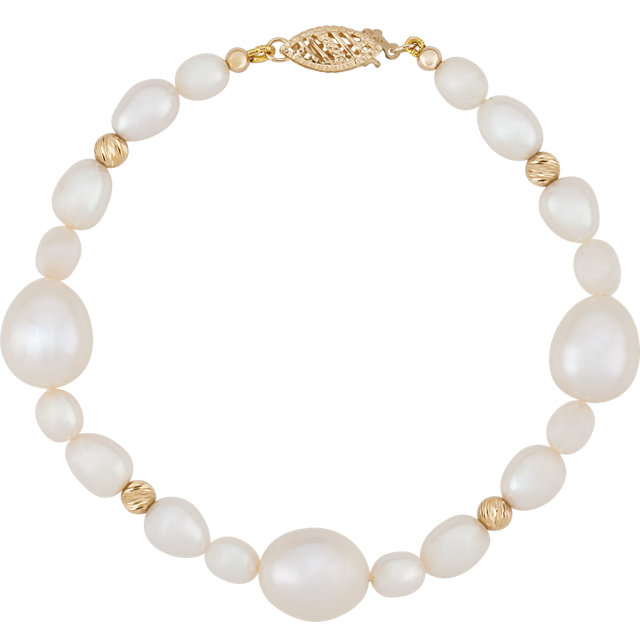 14 KT Yellow Gold Freshwater Cultured Pearl 7.5