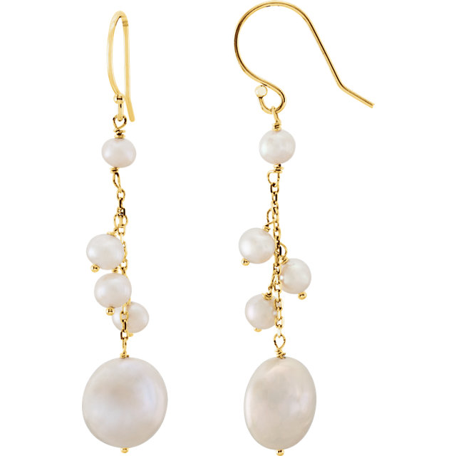14KT Yellow Gold Freshwater Cultured Pearl Dangle Earrings