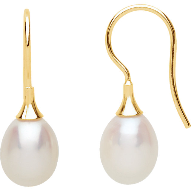 Quality 14 KT Yellow Gold Freshwater Cultured Pearl Earrings