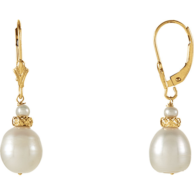 Great Gift in 14 Karat Yellow Gold Freshwater Cultured Pearl Earrings