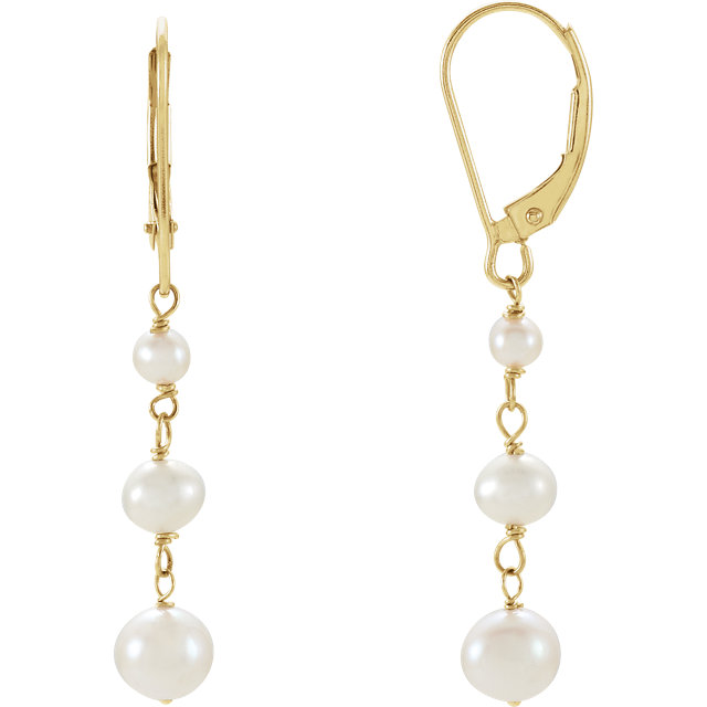 Beautiful 14 Karat Yellow Gold Freshwater Cultured Pearl Earrings