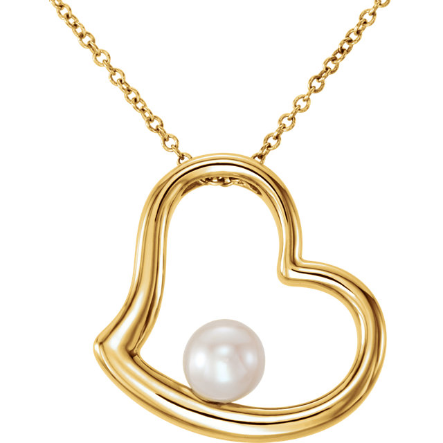 Chic 14 Karat Yellow Gold Freshwater Cultured Pearl Heart 18