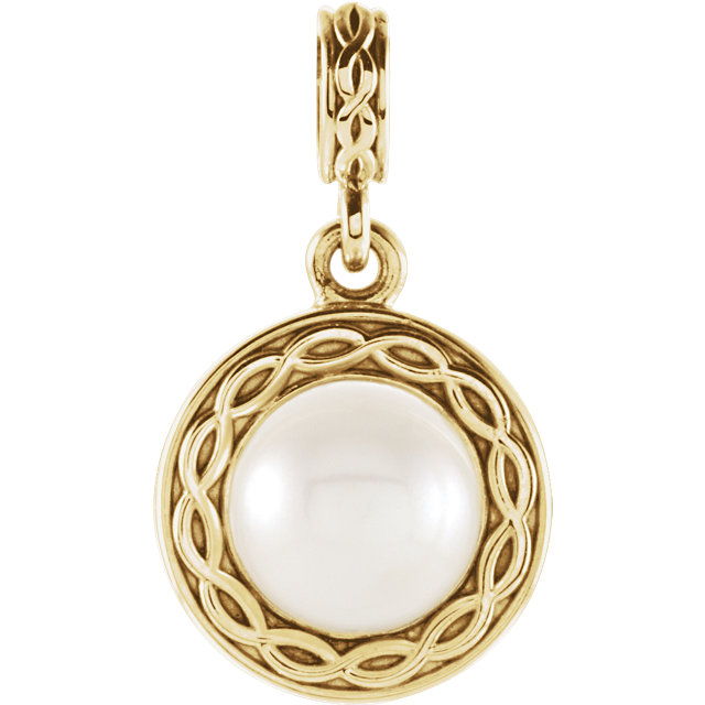 Contemporary 14 Karat Yellow Gold Freshwater Cultured Pearl Pendant
